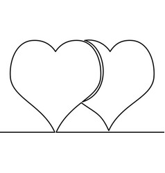 continuous line drawing two hearts love concept vector image
