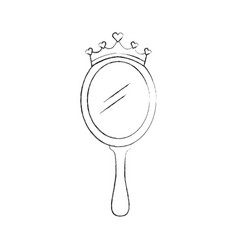 crown princess magical mirror with hearts vector image