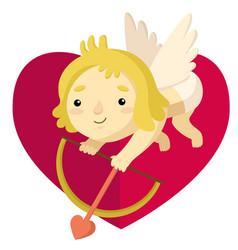 Cute cartoon cupid with arrow bow and hearts vector