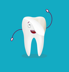cute cartoon tooth with dental veneer isolated on vector image