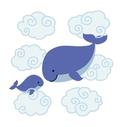 cute cartoon whales - mother and bain clouds vector image