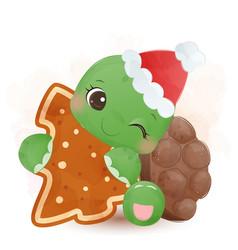 Cute green turtle wearing santa hat and hugging vector