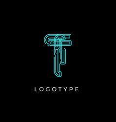 Cyber letter t for digital technology logo concept vector