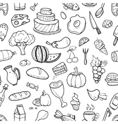 Doodle food ingredients drinks and vegetables vector