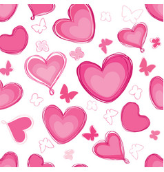 doodle hearts different shape pattern love vector image