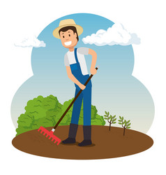farmer working in the garden vector image