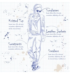 fashion look on a notebook page vector image