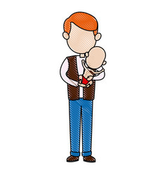 father and her baby together hugging vector image