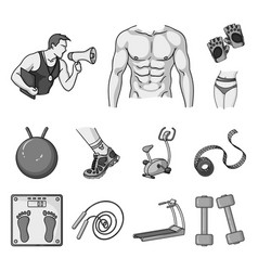 fitness and attributes monochrome icons in set vector image