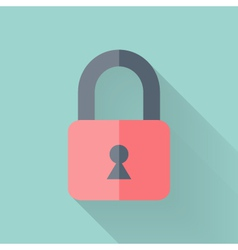 Flat closed padlock icon over mint vector image