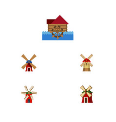 Flat icon alternative set of watermill rural vector