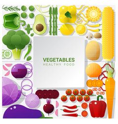 flat lay fresh vegetables on white table vector image