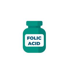 Folic acid bottle icon on white vector