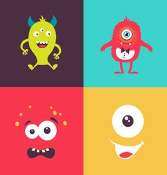 Four monsters for the collection halloween vector