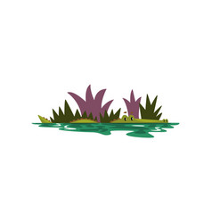 friendly crocodile swimming in a pond funny vector image