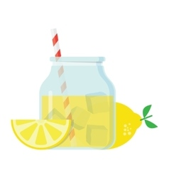 Glass jar with lemonade vector