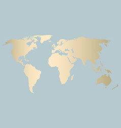 Gold world map design vector