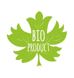 Green eco label with text bio product into green vector