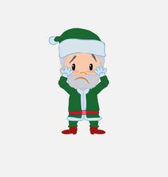 green santa claus surprised vector image