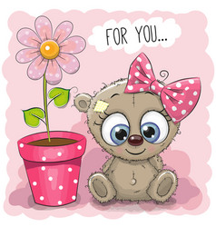 greeting card bear girl with flower vector image