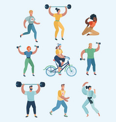 group of people practicing sports set of humans vector image