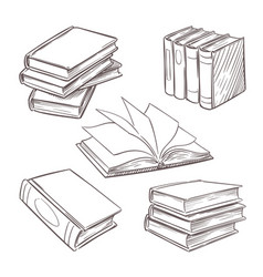 Hand drawn vintage books sketch book piles vector