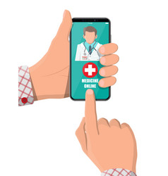 hand holding phone with internet pharmacy app vector image