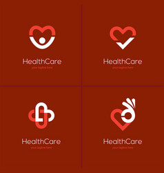 health care logo set with heart shape vector image