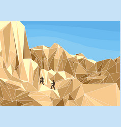 Hikers in montaun vector