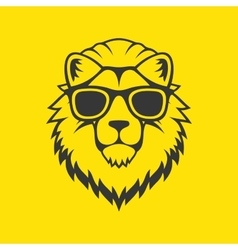 Hipster Style Lion Head Logo in Glasses vector