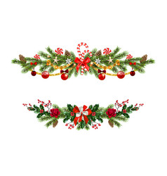 holiday pine decor set vector image