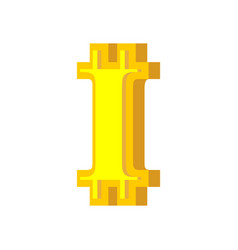 i letter bitcoin font cryptocurrency alphabet vector image