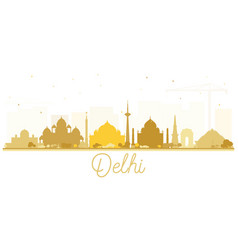 india city skyline silhouette with golden vector image