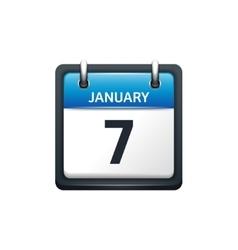 January 7 Calendar icon flat vector