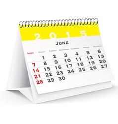 June 2015 desk calendar - vector
