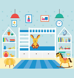 Kids bedroom with many toys and bunk bed flat vector