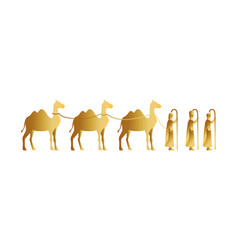Kings magicians with camels golden characters vector