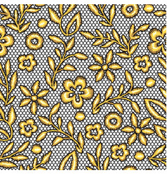 lace seamless pattern with gold flowers vector image