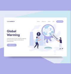 Landing page template of global warming concept vector