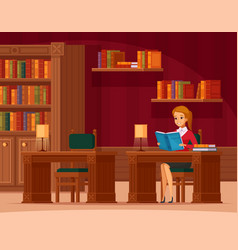 library reading room flat vector image