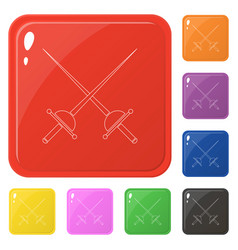 Line style crossed rapier icons set 8 colors vector
