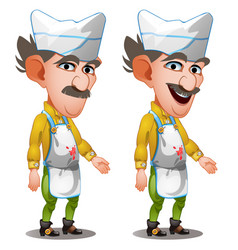 man butcher in working apron with blood stains vector image