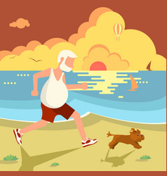 man jogging with dog vector image