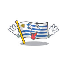 Mascot flag uruguay with in bring gift character vector