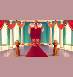 medieval kings palace throne hall cartoon vector image