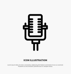 microphone multimedia record song line icon vector image