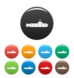 military submarine icons set color vector image