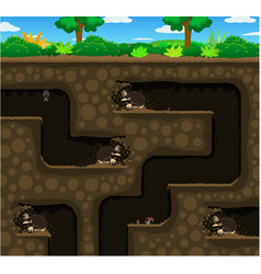 Moles dig underground cartoon vector