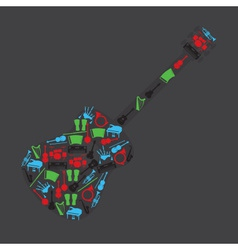 musical instruments in guitar shape eps10 vector image