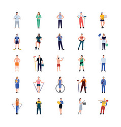 Occupations flat icons pack vector